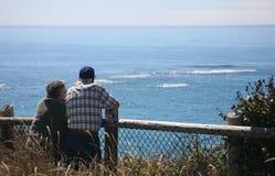 Un couple aîné à l'océan Images stock