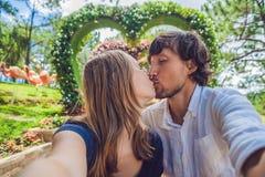 Un couple affectueux sous un buisson sous forme de coeur Jour du ` s de St Valentine, concept d'amour Photographie stock