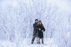 Un couple affectueux sur une promenade d'hiver Histoire d'amour de neige, magie d'hiver Homme et femme sur la rue givrée Le type  Photos stock