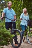 Un couple attrayant d'une femelle et d'un homme blonds s'est habillé dans des vêtements sport sur un tour de bicyclette en parc Photographie stock