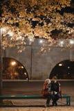 Un couple attrayant dans l'amour embrasse et apprécie un moment intime ensemble, contre le contexte des lumières de ville Photos libres de droits