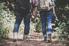 Un couple d'amant tenant des mains et le trekking dans une forêt tropicale ensemble Images stock