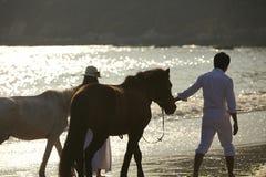 Un couple dans l'amour marchant sur la plage au coucher du soleil Images libres de droits