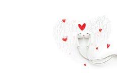 Un couple heureux dans l'amour avec la musique, beau concept peint d'écouteur Photographie stock