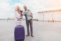 Un couple plus âgé marche le long du remblai avec leur petit chien Ils vont porter un sac pourpre de voyage Photo stock