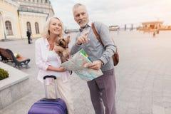 Un couple plus âgé marche le long du remblai avec leur petit chien Ils vont porter un sac pourpre de voyage Image libre de droits