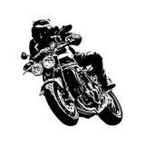 Un coureur sur emballer le vélo de moto sur le fond blanc Photos libres de droits