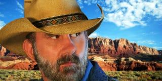 Un cowboy et les falaises vermeilles Images libres de droits