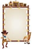 Un cowboy et un cheval devant un signage vide Photographie stock libre de droits