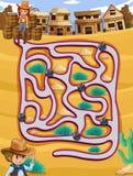 Un cowgirl che segue un labirinto illustrazione vettoriale