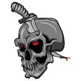 Un cráneo humano del vector con un cuchillo libre illustration