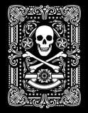 Pirate fleuri jouant le design de carte Images libres de droits
