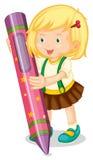 Un crayon de fixation de fille illustration libre de droits