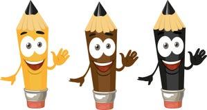 Un crayon souriant mignon avec une gomme à effacer dans la couleur trois Image stock