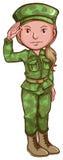 Un croquis d'un soldat féminin illustration de vecteur