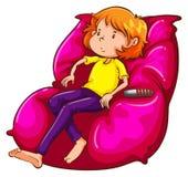 Un croquis d'une fille paresseuse au divan illustration libre de droits