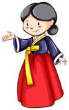 Un croquis d'une fille utilisant un costume asiatique illustration stock