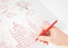 Un croquis de dessin de personne d'une ville avec des ballons et des nuages sur a Photos stock