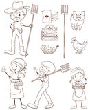 Un croquis simple d'un agriculteur illustration stock