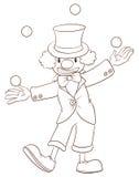 Un croquis simple d'un clown illustration libre de droits