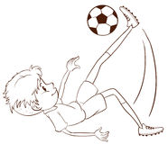 Un croquis simple d'un footballeur Photo libre de droits