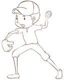 Un croquis simple d'un joueur de baseball Photos libres de droits