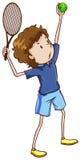 Un croquis simple d'un joueur de tennis masculin Image libre de droits