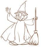 Un croquis simple d'un magicien illustration libre de droits