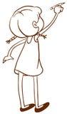 Un croquis simple d'une écriture de jeune fille illustration stock