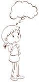 Un croquis simple d'une pensée de jeune fille illustration de vecteur