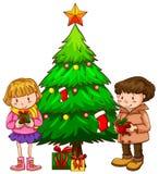 Un croquis simple des enfants près de l'arbre de Noël Images stock