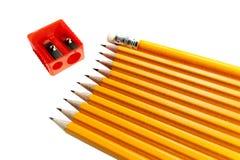 Un crudo delle matite e della gomma izolated Immagine Stock Libera da Diritti