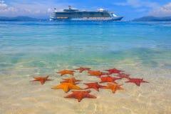 Un cruiseship e una stella marina Immagini Stock Libere da Diritti