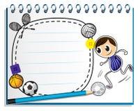 Un cuaderno con un bosquejo del diverso juego de los deportes Fotos de archivo libres de regalías