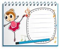 Un cuaderno con un dibujo de un bailarín de ballet Foto de archivo