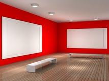 Un cuarto vacío del museo con el marco para el cuadro Foto de archivo