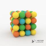 Un cube constitué par beaucoup de sphères vecteur 3d Images libres de droits