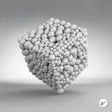 Un cube constitué par beaucoup de sphères vecteur 3d Photos stock