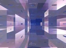 Un cube spacial a basé abstrait dans le bleu image stock