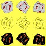 Un cubo con un domanda-segno (3d) Immagini Stock