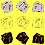 Un cubo con una pregunta-marca (3d) Imagenes de archivo