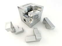 Un cubo construido de bloques. Rompecabezas Fotos de archivo libres de regalías