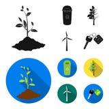 Un cubo de la basura, un árbol enfermo, una turbina de viento, una llave a un bio coche Iconos determinados bio y de la ecología  Fotografía de archivo
