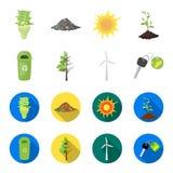 Un cubo de la basura, un árbol enfermo, una turbina de viento, una llave a un bio coche Iconos determinados bio y de la ecología  Foto de archivo