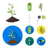 Un cubo de la basura, un árbol enfermo, una turbina de viento, una llave a un bio coche Iconos determinados bio y de la ecología  Imagen de archivo libre de regalías