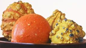 Un cuenco de calabazas ornamentales anaranjadas y amarillas Foto de archivo libre de regalías