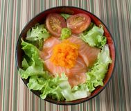 Un cuenco de desmoche del arroz blanco con los salmones Imagen de archivo