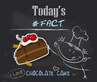 Un cuoco unico e un pezzo di dolci di cioccolato Immagini Stock Libere da Diritti