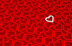 Un cuore bianco 3D dentro il modello rosso dei cuori 3D Immagine Stock Libera da Diritti