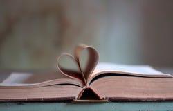 Un cuore con un bello libro di poesia immagine stock libera da diritti